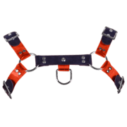 Rubber & Tinted PVC H Style Harness with Red Tinted PVC 1