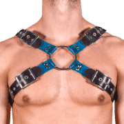 Rubber & Tinted PVC X Style Harness with Blue Tinted PVC 1