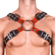 Rubber & Tinted PVC X Style Harness with Red Tinted PVC 1