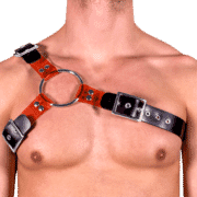 Rubber & Tinted PVC Y Style Harness with Red Tinted PVC 1